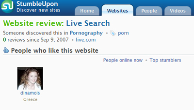 Stumbleupon Categorizes MSN Live Search as Porn