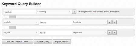 Google Analytics Style Keyword Suggestion Query Builder | The Google